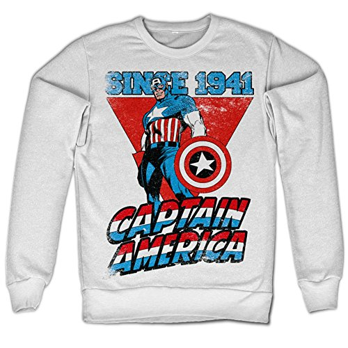 Marvel Comics Captain America Since 1941 Sweatshirt (Blanc), Large