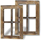 Greenco Wooden Rustic Mount Window Frames Vintage Country Farmhouse Wall Décor-Set of 2, 2 Count