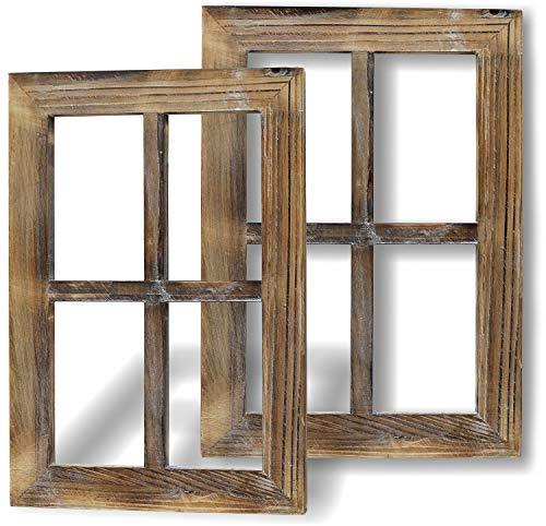 Greenco Rustikale Fensterrahmen aus Holz, Vintage, Landhaus, Wanddekoration, 2 Stück