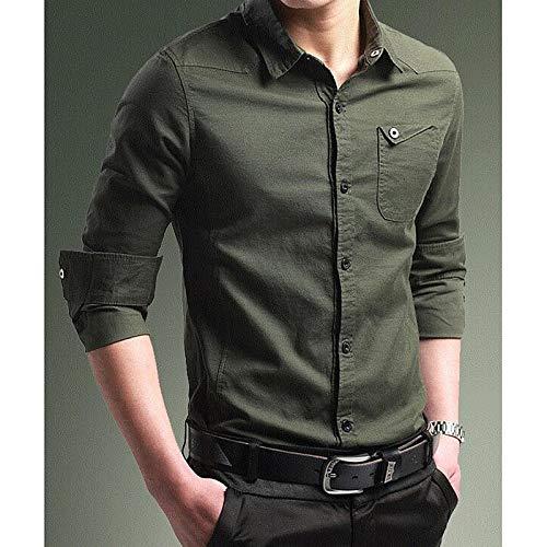 IYFBXl Camisa de Trabajo Slim para Hombres - Cuello clásico básico de Color sólido/Manga Larga, de Color Caqui, XXL: Amazon.es: Deportes y aire libre