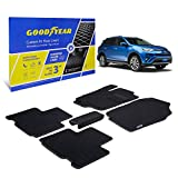 Goodyear Custom Fit Car Floor Liners for Toyota RAV4 2013-2018, Black/Black 5 Pc. Set, All-Weather Diamond Shape Liner Traps Dirt, Liquid, Rain and Dust, Precision Interior Coverage - GY004036