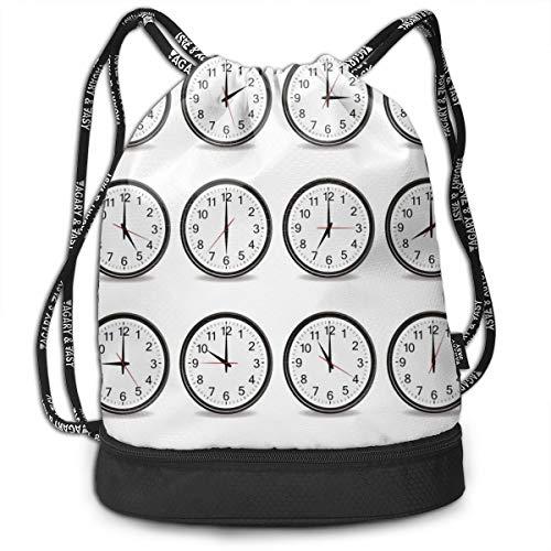DPASIi Mochilas con cordón, relojes con números que muestran cada hora, hora y hora, cierre de cuerda ajustable.