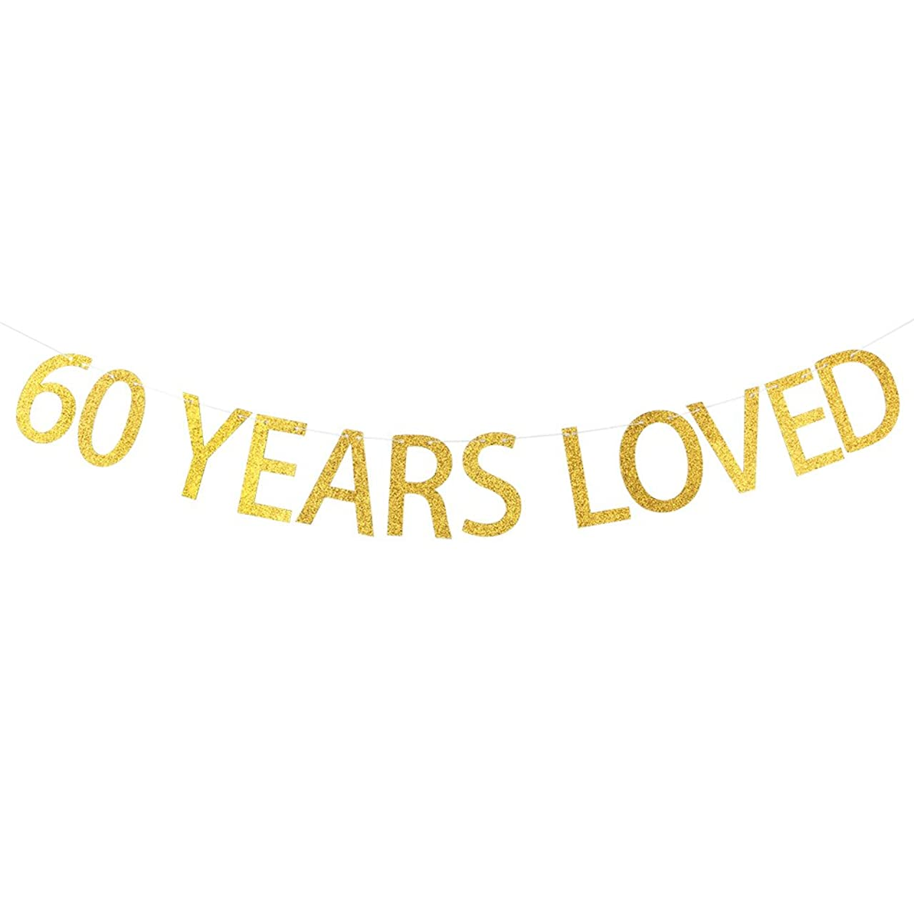 60 YEARS LOVED Gold Glitter Banner for 60th Birthday, Wedding Anniversary Party Bunting Photo Props Decorations