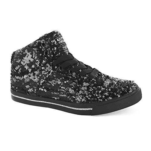 Gotta Flurt Hop Hop II Lace Up 3/4 Top High Top Sneaker, Silver/Black, 5.5