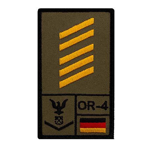 Café Viereck ® Oberstabsgefreiter Marine Bundeswehr Rank Patch mit Dienstgrad - Gestickt mit Klett – 9,8 cm x 5,6 cm