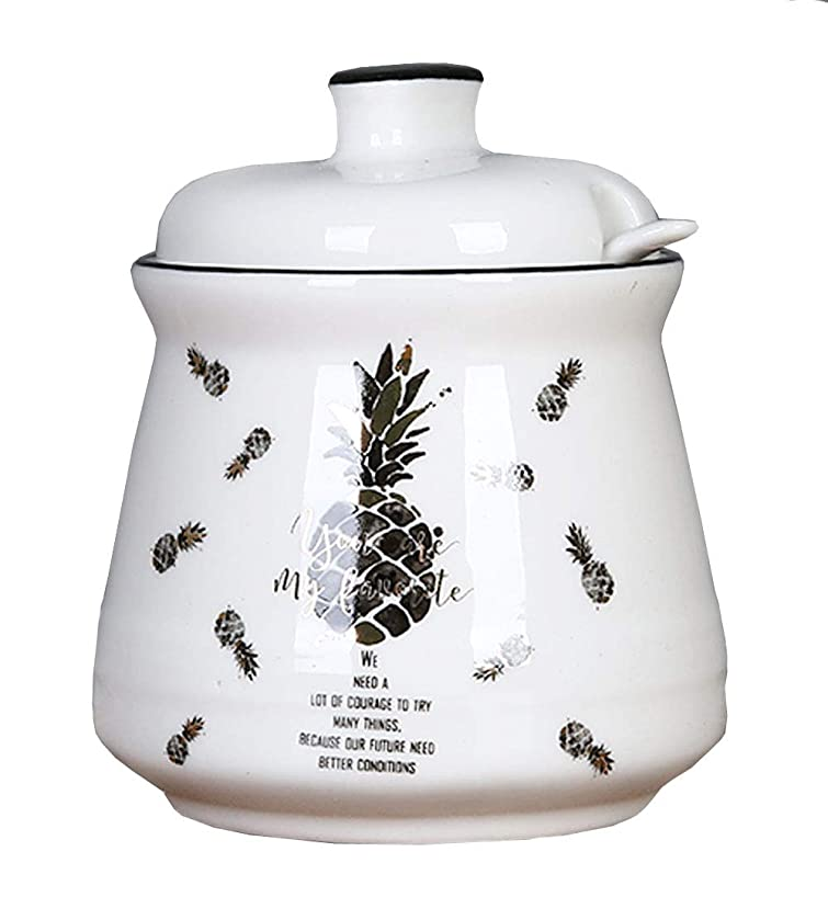 FUYU Pineapple Ceramic Sugar Bowl Spice Jar with Lid Spoon Seasoning Box Condiment Pot