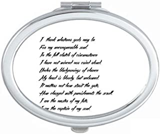 Poetry Quote Never Surrender Unbeatable Mirror Portable Fold Hand Makeup Double Side Glasses