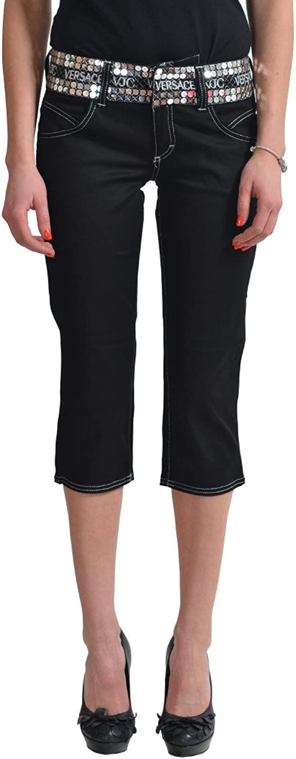 Versace Women's Black Capris Cropped Pants