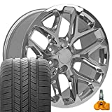 OE Wheels LLC 20 Inch Fit Chevy Silverado Tahoe GMC Sierra Yukon Cadillac Escalade CV98 Chrome 20x9 Rims Goodyear Eagle All Season Tires TPMS Hollander 5668 SET