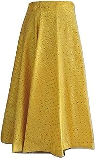 SNEH Women's Silk Gold Print Checkered Skirt (Yellow,Free Size)