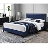 DG Casa Ocean Upholstered Platform Bed Frame with Nailhead Trim Headboard and Full Wooden Slats, Queen Size in Blue Fabric
