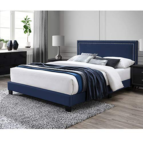 DG Casa Ocean Upholstered Platform Bed Frame with Nailhead Trim Headboard and Full Wooden Slats, Box Spring Not Required-Queen Size in Blue Faux Velvet Fabric