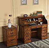 Roll Top Desk + 2 Drawer File Cabinet Solid Oak Wood Executive Desk 54'x24'x45' Home Office Secretary Organizer Roll Hutch Crafted Construction Plus 2 Drawer File Cabinet 18.HW x 22D x 30