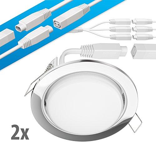 ledscom.de LED Decken-Einbaustrahler Ruba Chrom GX53 6,3W 450lm warmweiß rund flach 107mm Ø Lochkreis ca. 83-100mm Ø 2er Set