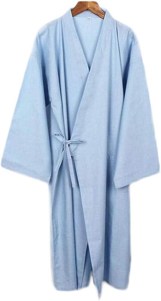 Japanese Style Men Thin Cotton Bathrobe Pajamas Kimono Gown Bathrobes Sleepwear-F17