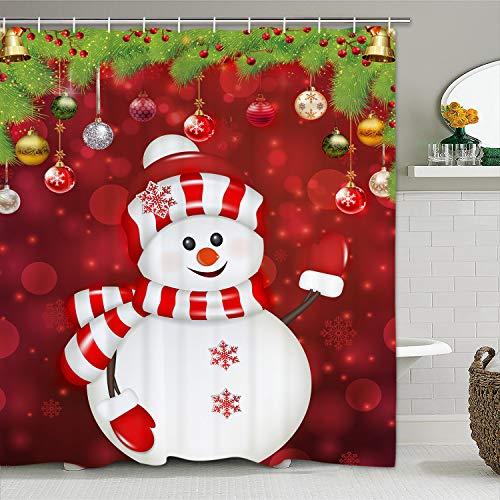 Christmas Shower Curtain with 12 Hooks Snowman Xmas Balls Snowflake Shower Curtain Set Waterproof Durable Bathroom Shower Curtains for Christmas Decoration