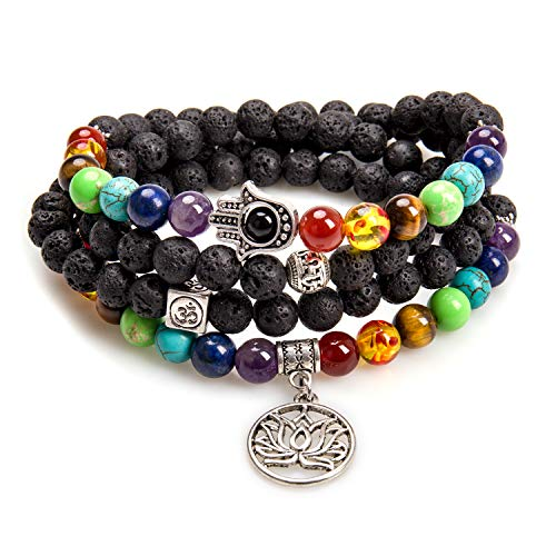 Mala Beads,8MM Beads Essential Oil Diffuser Bracelets for Women 7 Chakra Stones Lava Stone Necklace for Men(Lava Rock,Lotus Flower)