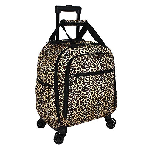 World Traveler Prints 18-inch Spinner Carry-On Luggage, Black Trim Leopard, One_Size