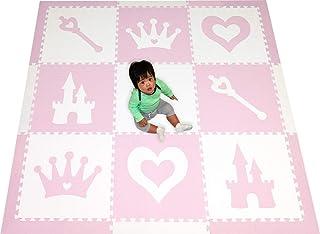 SoftTiles Princess Theme Foam Play Mat   Princess Decor   Nontoxic Interlocking Floor Tiles for Girls` Playrooms & Baby Nu...