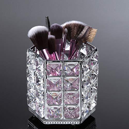 ZWOOS Organizador de brochas de Maquillaje, Cristal Cosmético Almacenamiento Organizador para Cejas, lápices, Makeup Brush y Herramientas