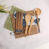 Symbioled Sushi Making Kit, Sushi Bamboo Mat, Including 2 Sushi Rolling Mats, 5 Pairs of Chopsticks, 1 Paddle, 1 Spreader, 1 Sauce Dish, 1 Cotton Bag, 1 Beginner's Instruction Manual