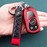 Soft Carbon Fiber Finish TPU Car Key Fob Cover for Buick Verano Encore Envision Regal Lacross Enclave GL8 2015 2016 2017 2018 2 3 4 5 Buttons Smart Remote Key Case Key Cover, with a Keychain