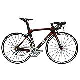 BEIOU 2016 700C strada Shimano 105 Bike 5800 11S Bicicletta da corsa T800-M40 Carbon Fiber Aero Telaio 18.3lbs Ultra-light CB013A-2 (Matte Black & Red, 560mm)