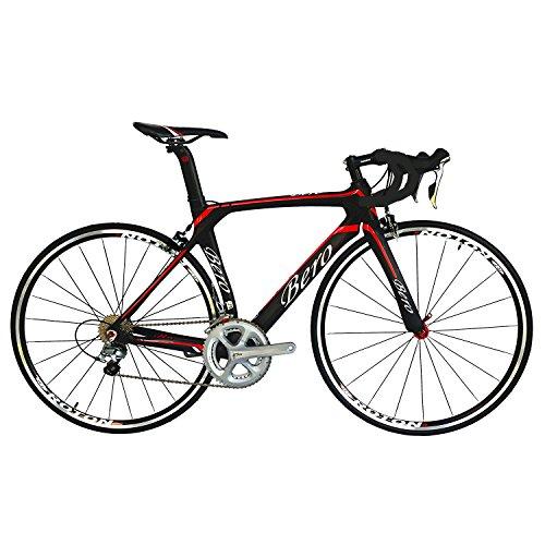 BEIOU® 2016 700C carretera Shimano 105 bicicletas con un cuadro 11S 5800 Bicicleta de carreras T800-M40 fibra de carbono Aero 18.3lbs ultraligeros CB013A-2 (Mate Negro y Rojo, 520mm)