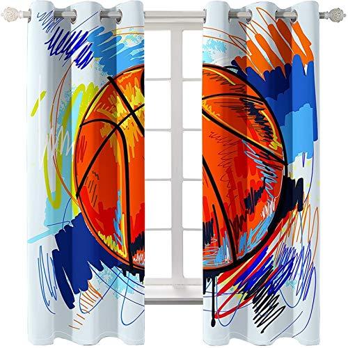 AmDxD 2 paneles 100% poliéster, cortinas opacas para dormitorio, cortinas de graffiti, cortinas de baloncesto, lavables a máquina, color azul y naranja, 201 cm de ancho x 250 cm de largo