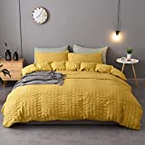 M&Meagle 2 Pieces Yellow Mustard Duvet Cover Textured Set with Zipper Closure,100% Washed Microfiber Seersucker Fabric,Luxury Hotel Quality Bedding-Twin Size(1 Duvet Cover 1 Pillowcase)