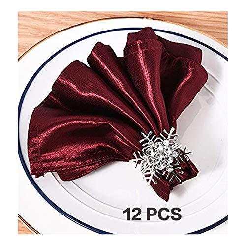 Serviettenringe Schneeflocke Set von 12, Silber Serviettenringe für Dinner-Party, Urlaub, Hochzeit, Erntedankfest, Weihnachten, Neujahr