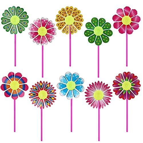 TSLBW Molinos de Viento de Colores Molinillos de Arco Iris de Viento de Plástico Fiesta Juego de Molinillos de Viento para Jardín,Cuartos de niños, Decoración de Fiestas