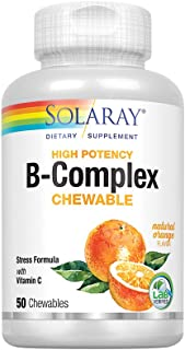 Solaray Vitamin B-Complex 250mg Natural Orange Flavor | Healthy Hair, Skin, Immune Function & Metabolism Support | Lab Ver...
