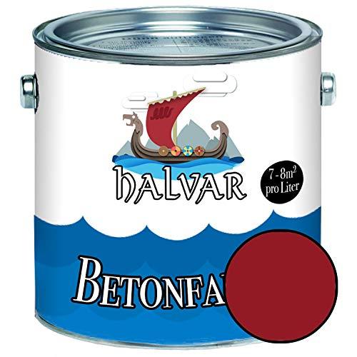 Halvar Betonfarbe/Bodenbeschichtung SEIDENMATT Rot RAL 3000-3031 Fassadenfarbe (1 L, RAL 3003 Rubinrot)
