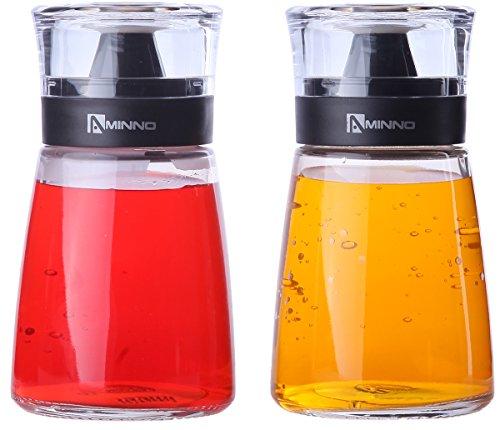 Essig- und Ölspender von Juvale (2er Set) – Flasche aus hochwertigem Glas mit schwarzem Kunststoffdeckel - Auslaufsicher, Tropffrei - Elegant in der Küche und bei Tisch - je rund 170 ml/5,5 oz