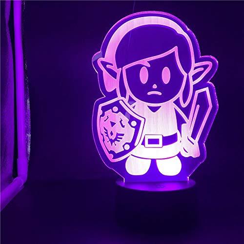 hqhqhq Base de Reloj Lámpara de Mesa 3D The Legend of Zelda Link Adolescentes Dropship Atmósfera Decoración única con Mando a Distancia -1314