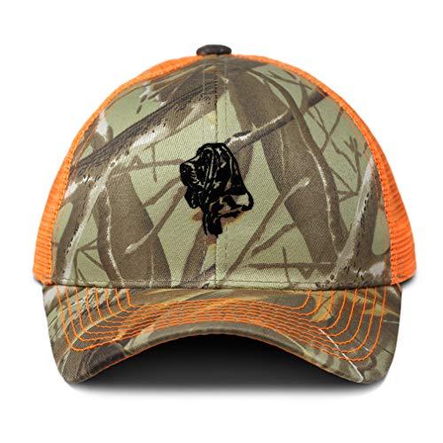 Camo Mesh Trucker Hat Bloodhound Dog Head Silhouette Sewed Cotton Neon Hunting Baseball Cap Strap Closure One Size Orange Camo Design Only