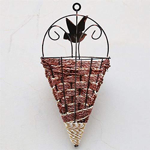Ltong rieten bloemenmand vaas rotan muur opknoping pot plantenbak rotan vaas mand decor, bruin