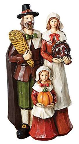 Pilgrim Thanksgiving Figurine of Mother Farther Child For Round Tables