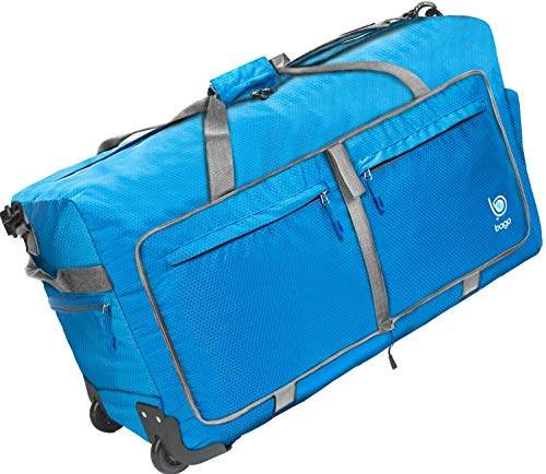 Bago Wheeled Duffle Bag Luggage - 100L Large Rolling Duffel Bag 30 inch Folding Duffle Bag for Travel - Packable Duffle Bag with Rollers (Blue)