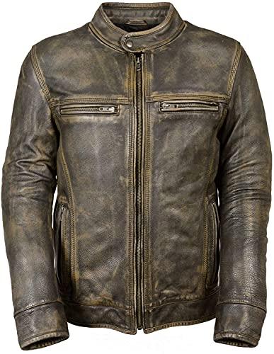 MK - Giacca da motociclista da uomo, in pelle, marrone anticato Multicolore XXXXL