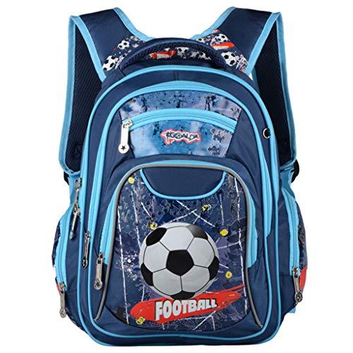 Kinderrucksack Jungen Schultasche für Kinder Rucksack Grundschüler Fußball Druck Mehrschichtig 14 Zoll Lässige Reflektierend Umhängetasche(Blau)