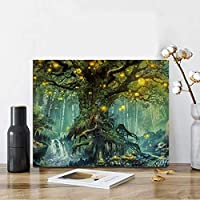 Karyees Firefly Forest Paint by Numbers キット 森林 DIY 数字による絵画 Firefly Forest DIY キャンバスペインティング 番号による絵画 アクリル絵キット 絵画 大人 子供 Firefly Forest 16x20インチ