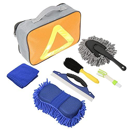 Haihui Juego de herramientas de limpieza para coche 7 en 1 con bolsa, cepillo para neumáticos, cepillo de doble cabezal, esponja de lavado de chenilla, rascador de parabrisas, plumero y manopla