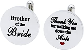 Melix Home Brother of The Bride Stainless-Steel Cuff Links,Thank You for Walking Me Down The Aisle Cuff Links