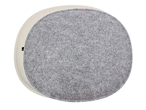 Luxflair 4er Set ovale Filz Sitzkissen mit Füllung in Graumeliert/Cremeweiß, waschbar. Moderne Sitzauflage für Designer Stühle