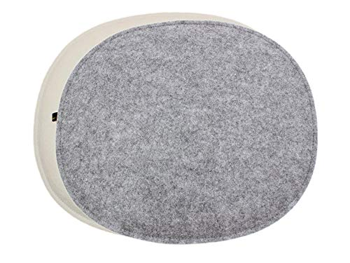 Luxflair Juego de 4 Cojines ovalados de Fieltro Color Crema Blanco/Gris Moteado. Cojín de Asiento Moderno para sillas de diseño, por Ejemplo, Side Chair Eames o Fanbyn