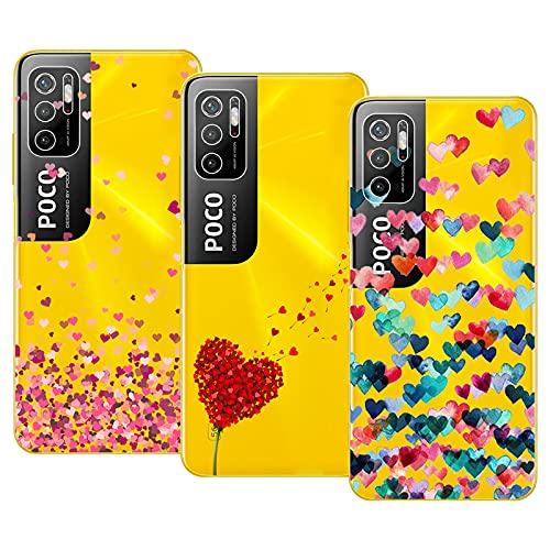 Young & Ming Compatible con Funda Xiaomi Poco M3 Pro 5G/RedmiNote105G, (3 Pack) Transparente TPU Carcasa Delgado Anti-Choques con Dibujo de Corazón