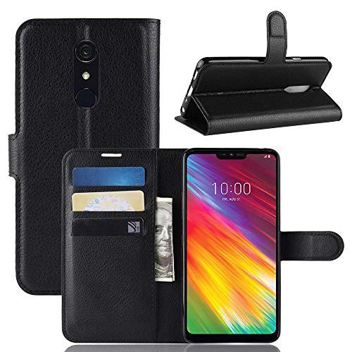 ECENCE Handy-Schutzhülle - Handytasche für LG G7 Fit Schwarz - Smarthone Hülle Cover stoßfest mit Kartenfach - Handycase mit Stand-Funktion 12020204