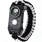 RNS STAR Paracord Survival Bracelet 6-in-1 - Hiking Gear Traveling Camping Gear Kit - 70% Bigger Compass LED SOS Emergency Function Flashlight,Fire Scrapper,Flint Fire Starter,Survival Knife